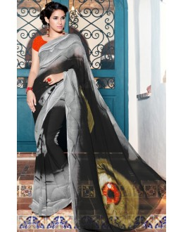 Casual Wear Black & Grey Georgette Saree  - 1104