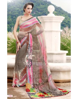 Casual Wear Multicolour Georgette Saree  - 1106