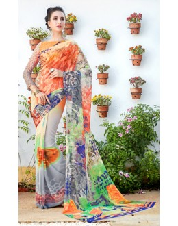 Casual Wear Multicolour Georgette Saree  - 1110
