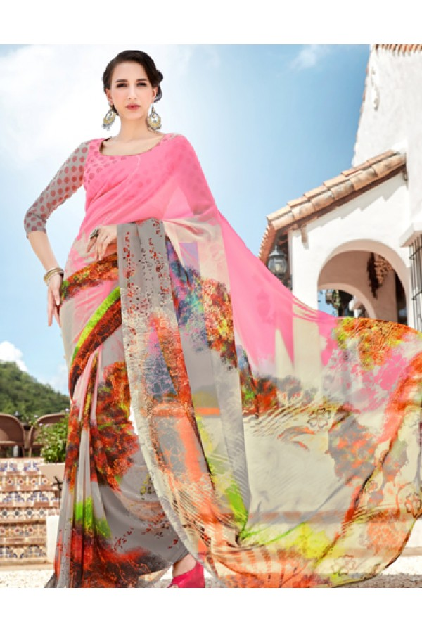 Ethnic Wear Multicolour Georgette Saree  - 1113