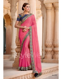 Party Wear Gajri Chiffon Saree  - B-101