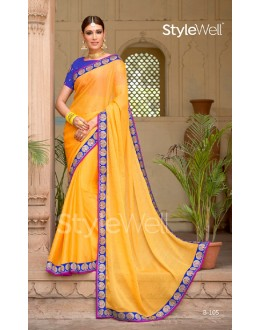 Ethnic Wear Yellow Chiffon Saree  - B-105