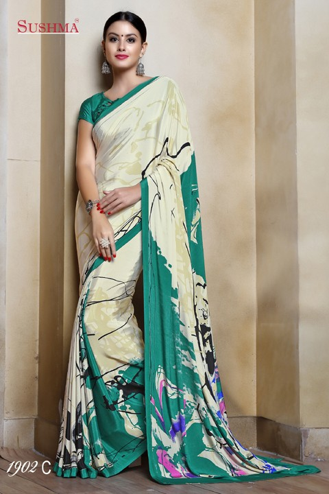 Party Wear Cream Crepe Silk Saree  - SUSHMA-1902-C
