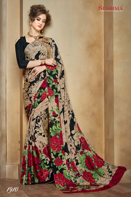 Multi-Colour Crepe Silk Printed Saree  - SUSHMA-1910