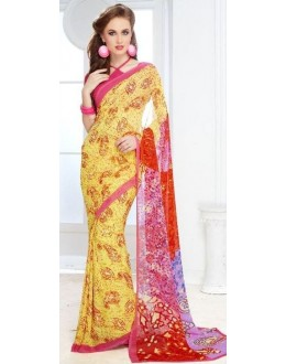 Casual Wear Yellow & Pink Georgette Saree - 702-B