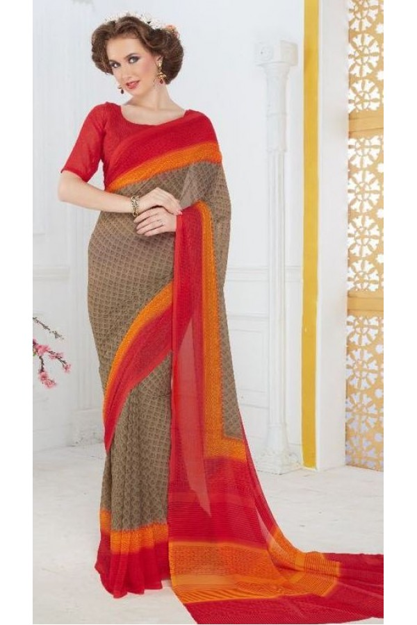 Party Wear Brown & Red Georgette Saree - 706-A