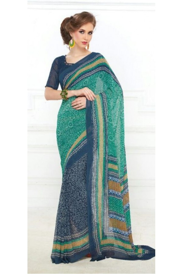 Party Wear Multicolour Georgette Saree - 707-B
