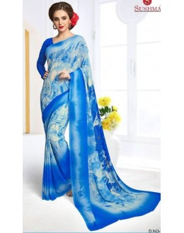 Party Wear Blue Georgette Saree - 709-B