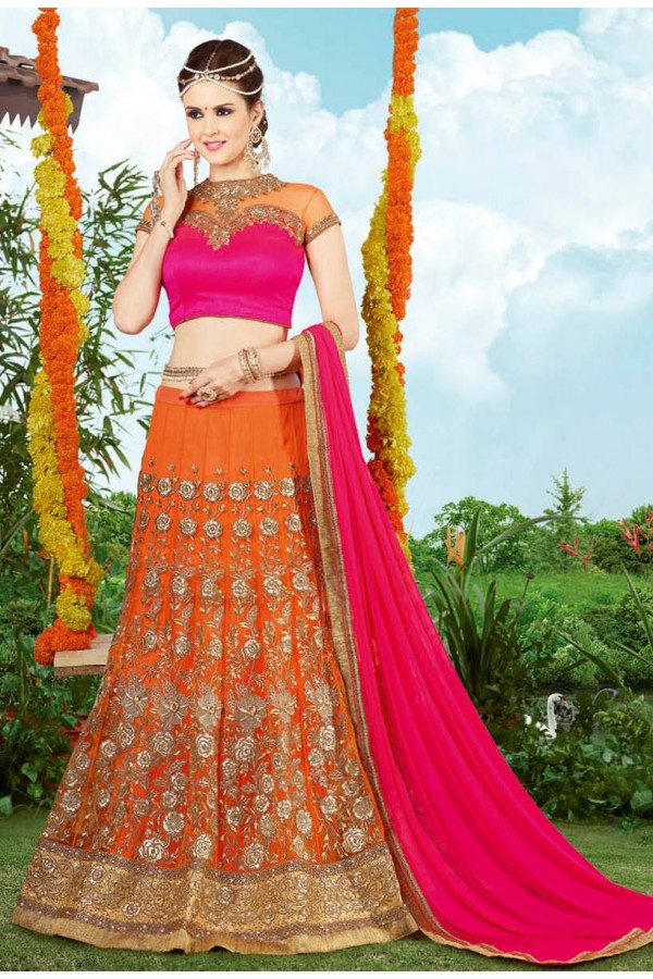 Bridal Wear Orange & Pink Net Lehenga Choli - 9401