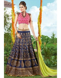 Designer Blue Silk Embroidered Lehenga Choli - 9402