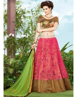 Tradditional Pink & Golden Premium Net Lehenga Choli - 9407