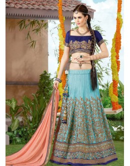 Wedding Wear Sky Blue & Peach Twitone Silk Lehenga Choli - 9408