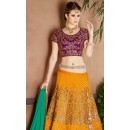 Designer Yellow & Green Twitone Silk Lehenga Choli - 9412