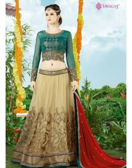 Ethnic Wear Beige & Red Premium Net Lehenga Choli - 9411