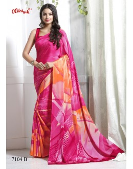 Party Wear Pink Crepe Silk Saree  - 7104-B