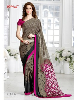 Multi-Colour Crepe Silk Printed Saree  - 7105-A