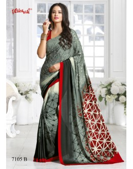 Crepe Silk Multi-Colour Printed Saree  - 7105-B