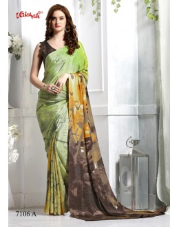Casual Wear Green Crepe Silk Saree  - 7106-A