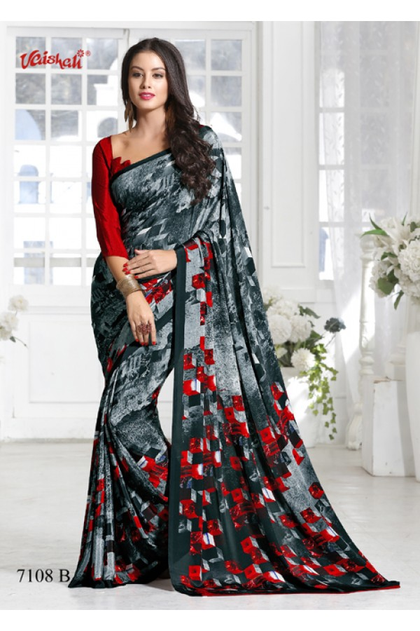 Crepe Silk  Grey & Red Saree  - 7108-B