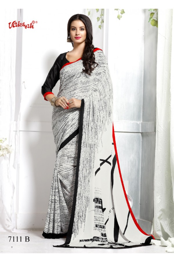 Casual Wear White Crepe Silk Saree  - 7111-B