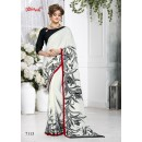 Party Wear White Crepe Silk Saree  - 7113