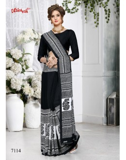 Ethnic Wear Black Crepe Silk Saree  - 7114