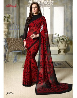 Ethnic Wear Red Georgette Saree  - 9001-A