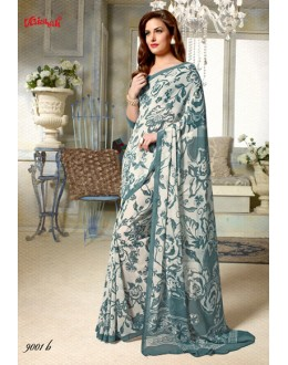 Casual Wear Cream Georgette Saree  - 9001-B