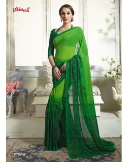 Georgette Green Printed Saree  - 9002-A