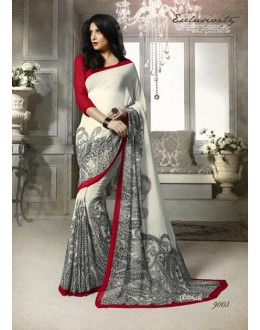 Festival Wear Cream Georgette Saree  - 9003