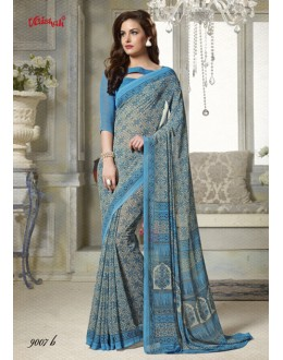 Georgette Multi-Colour Printed Saree  - 9007-B
