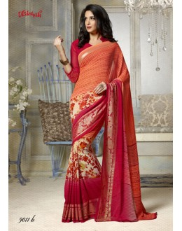 Casual Wear Orange Georgette Printed Saree  - 9011-B
