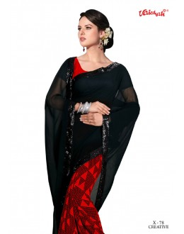Black & Red Georgette Half & Half Saree  - VAISHALI-X-78