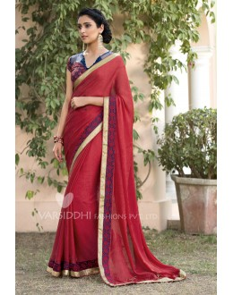 Jacquard Chiffon Light Red Saree - 3202