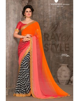Multi-Colour Chiffon Saree - 2954