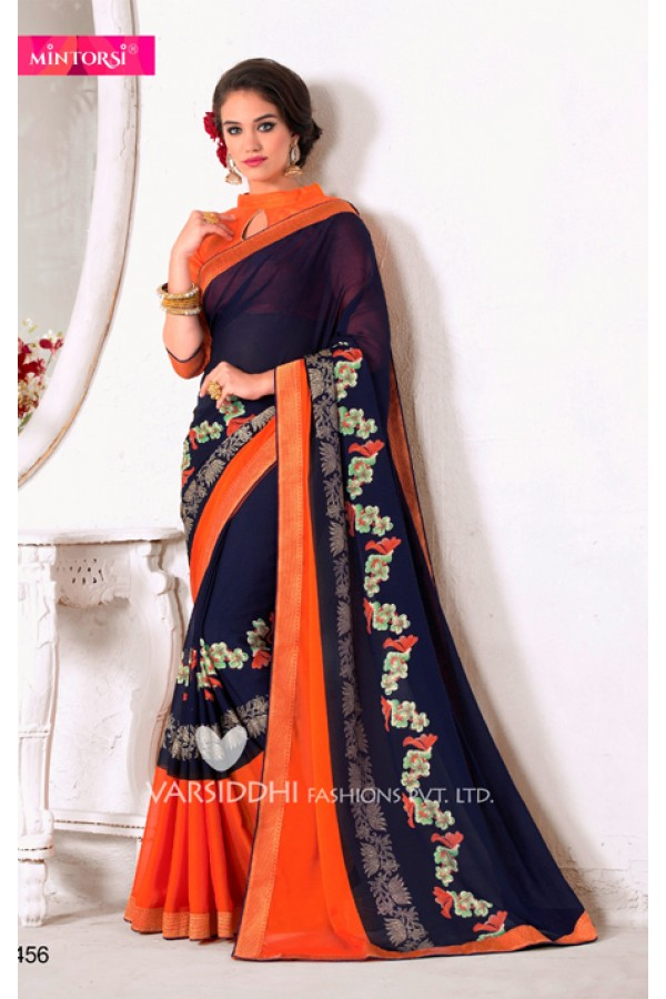 Traditional Blue Georgette Saree  - VARSIDDHI-3456