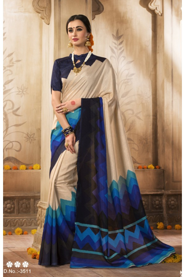 Ethnic Wear Cream Silk Saree  - VARSIDDHI-3511