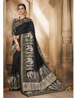 Ethnic Wear Black Silk Saree  - VARSIDDHI-3515