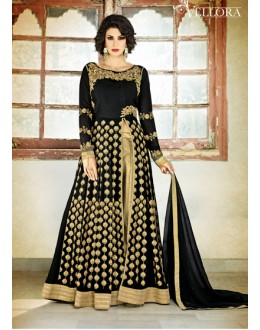 Party Wear Black Georgette Slit Anarkali Suit - VELLORA-301