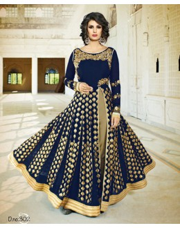 Wedding Wear Blue Georgette Slit Anarkali Suit - VELLORA-302