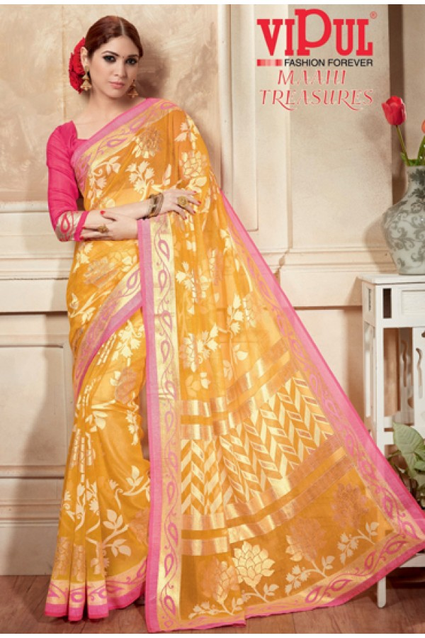 Ethnic Wear Yellow & Pink Kashida Silk Saree  - 19407