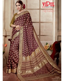 Casual Wear Maroon & Golden Kashida Silk Saree  - 19408