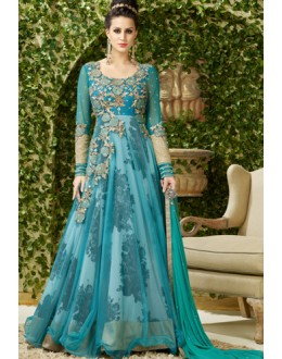 Festival Wear Sky Blue Net Embroidered Anarkali Suit - 4002