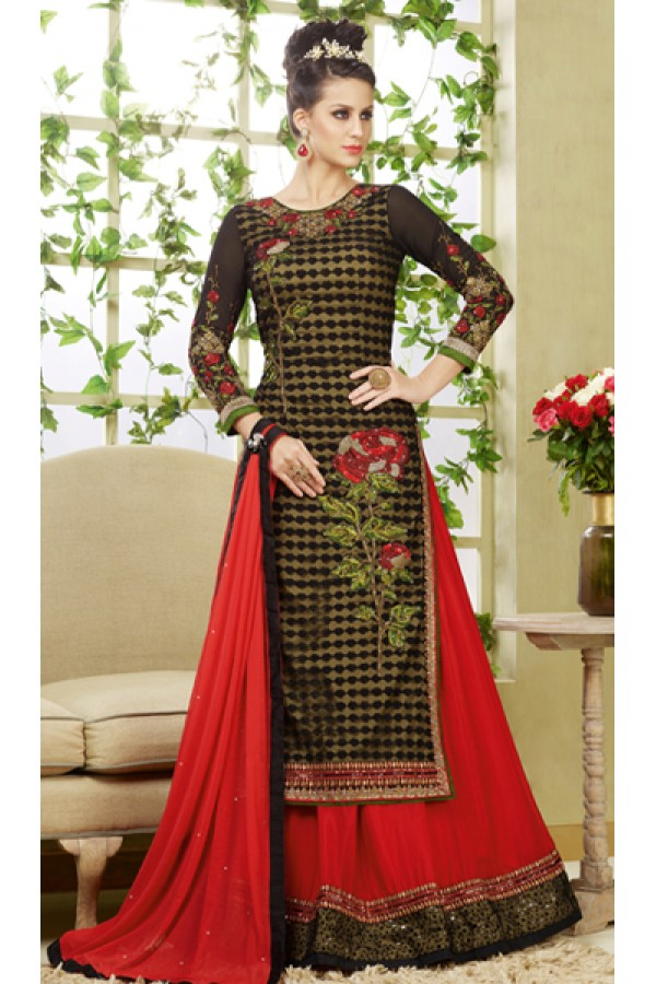 Ethnic Wear Brown & Red Net Embroidered Lehenga Suit  - 4003
