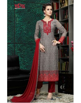 Festival Wear Grey & Maroon Georgette Salwar Suit  - 8901