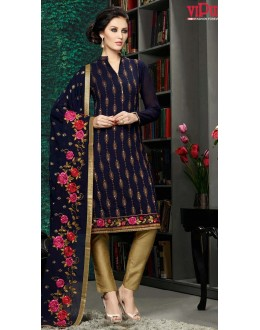 Ethnic Wear Black & Golden Georgette Salwar Suit  - 8902