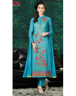 Festival Wear Sky Blue Georgette Salwar Suit  - 8903