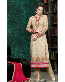 Festival Wear Beige & Red Georgette Salwar Suit  - 8906