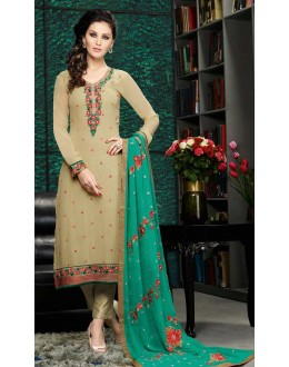 Ethnic Wear Beige & Green Georgette Salwar Suit  - 8909