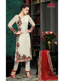 Ethnic Wear Cream & Red Georgette Salwar Suit  - 8904